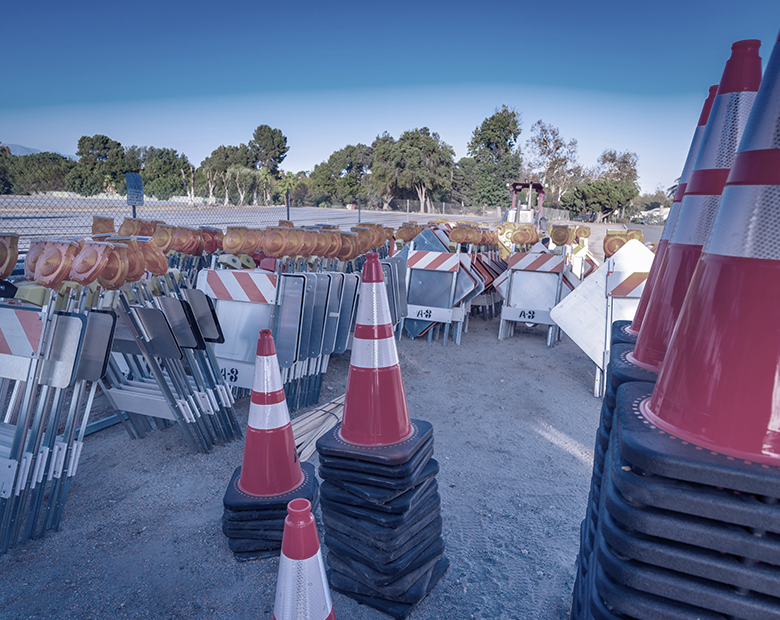 photo of construction cones and signs